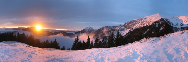 Panoramic view of Kamnik-Savinja Alps from Kofce, a mountain hut below Veliki vrh
