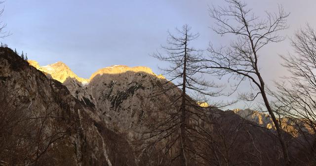A glimpe of Kamnik-Savinja Alps (Kaminško Savinjske Alpe) from the trail to Kokrsko sedlo.