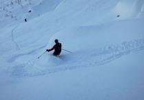 Powder skiing on the scree slopes of Mt. Trbiška Krniška špica