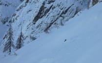 Backcountry skiing on the scree slopes of Mt. Trbiška Krniška špica
