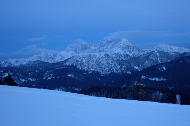 Kamnik-Savinja Alps slowly sinking into the night.