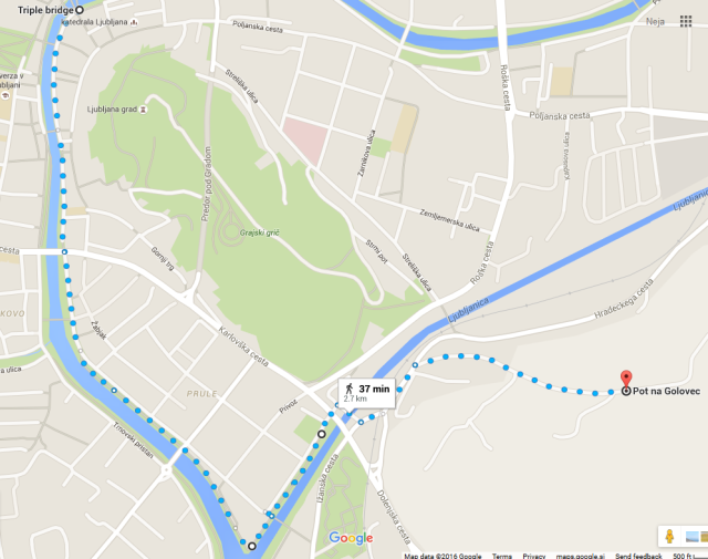 This Google Map should help you to get from the Triple Bridge to the Ljubljanica river embankment Špica (the lowest point) and further on to the start of the trail on Golovec.