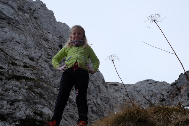 My daughter's first experience in the high mountains at the age of 6, making 2,930 Ft (893 m) elevation gain to a mountain pass just below the highest mountain of the Kamnik-Savinja Alps in Slovenia. Photo by: Exploring Slovenia.