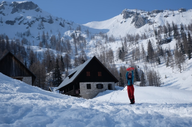 Our six-and-a-half year old daughter walked for 7 hours in knee-deep powder snow to the Blejska Hut, 1,630 m or 5,350 Ft, and back since the local road to the usual starting point was closed. Photo by: Exploring Slovenia.