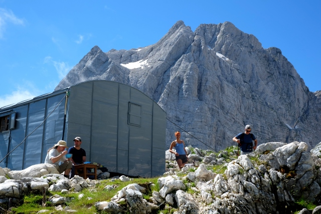 Laid-back atmosphere at the Bivouac IV in Julian Alps.