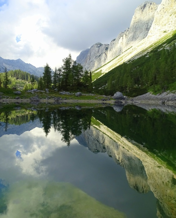 A reflection of the mountains in a lake; the Double Lake