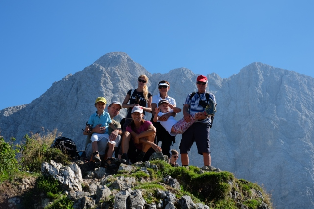 Our family at the top of Slemenova špica, 6,270 ft or 1,911 m. This one will look good in our calendar!
