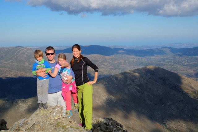 Family photo from the top of Punta La Marmora, the highest summit of Sardinia
