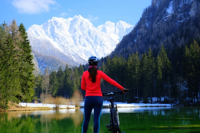 Cycling from Ljubljana to Jezersko,Jezersko by the lake, exploring Slovenia