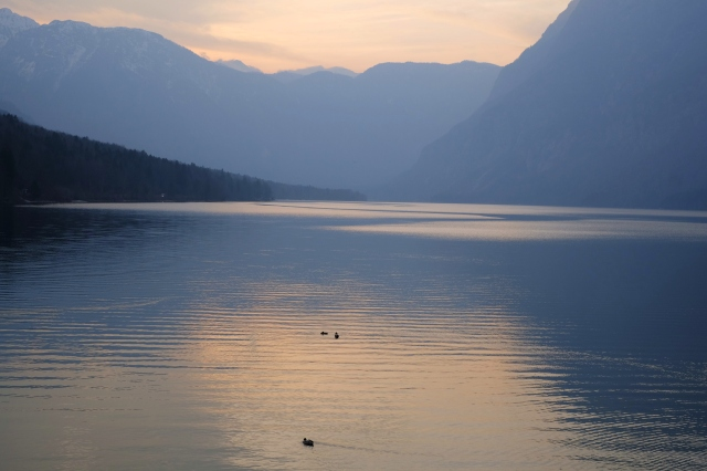 Lake Bohinj at sunset, Slovenia