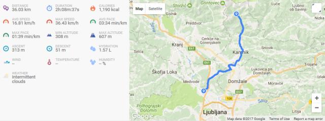 Cycling map from Ljubljana to Kamniška Bistrica, Slovenia