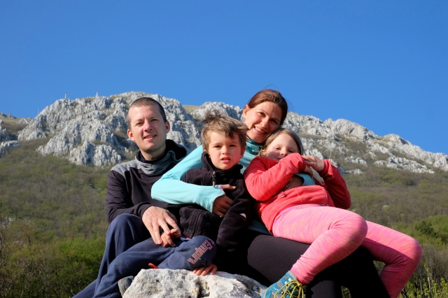 Outdoor family under the mountains