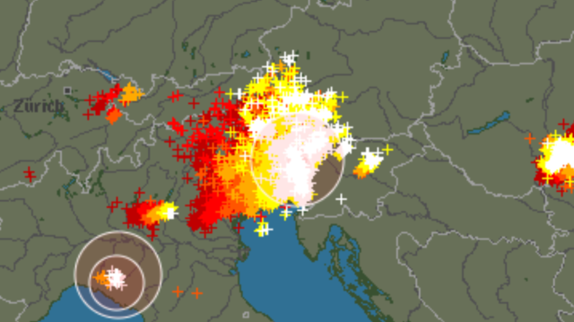 A major thunderstorm passing Slovenia