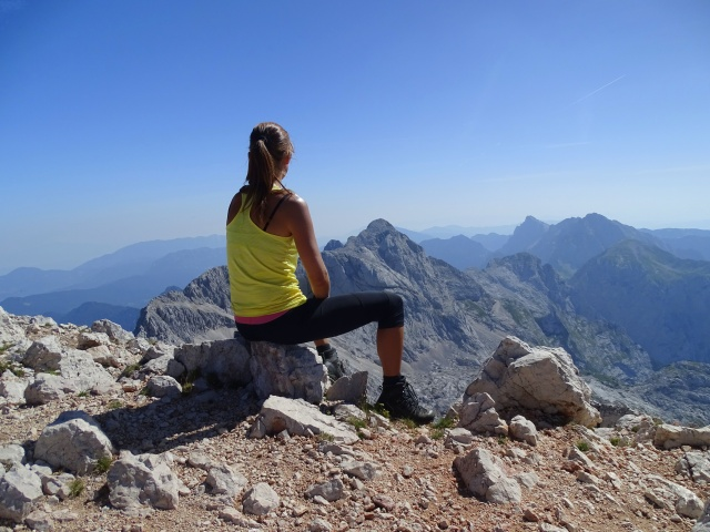 At the top of Grintovec, overlooking Dolgi Hrbet, Skuta and Brana