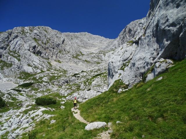 Returning from Grintovec, the highest mountain in the Kamnik-Savinja Alps