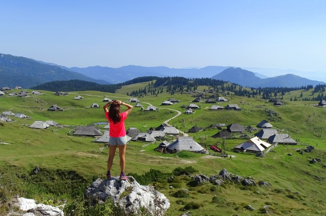 A female hiker enjoying Velika Planina, Slovenia #centralslovenia