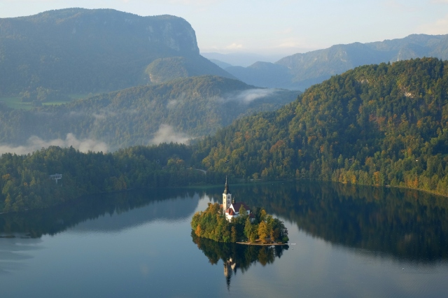 Aerial view of Lake Bled and the island