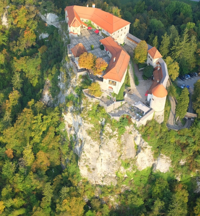 Aerial view of Bled Castle, Slovenia
