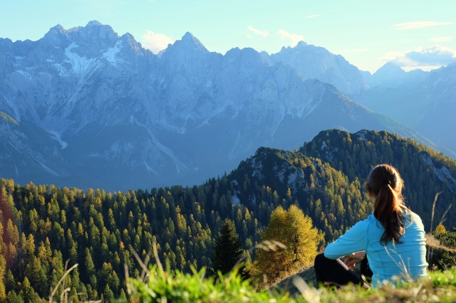 Scenic view over Julian Alps from Trupejevo Poldne above Kranjska Gora, Slovenia