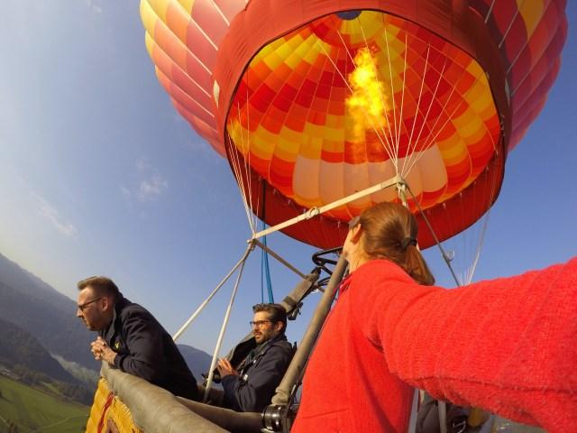In a hot air balloon