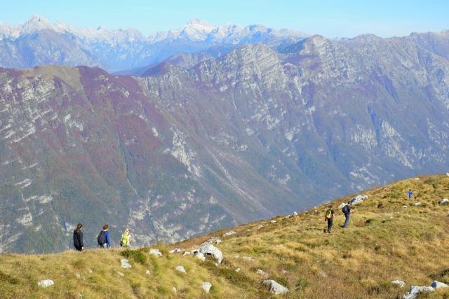 Hiking Kobariški Stol above Kobarid, Slovenia