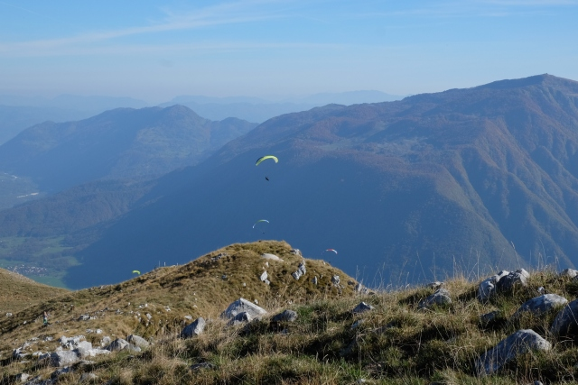 Kobariški Stol is also favored by paragliders and downhill riders. If we hiked up as a family, my 20-years-old nephew Lovro brought along his paraglider and jumped from just beneath the top of Kobariški Stol towards Kobarid. Slovenia