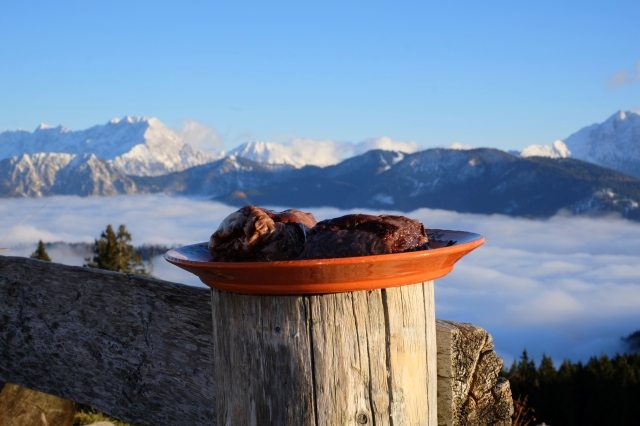 Chocolate štruklji on Kofce, in the mountains, Slovenia
