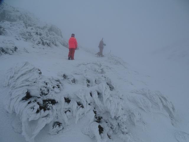 Hiking Snežnik in winter, frozen sculptures, Slovenia