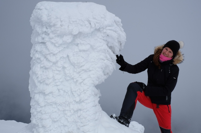 The very top of Snežnik in winter, frozen