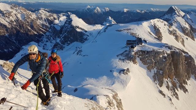 Climbing Triglav in the snow, Slovenia, Julian Alps