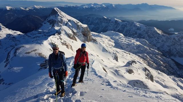 Climbing Triglav in the snow with a mountain guide, Slovenia