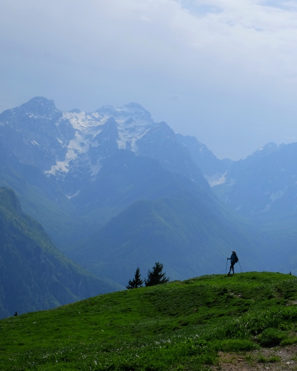 A lonely hiker in the mountains, Slovenia