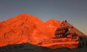 Kredarica hut and Triglav for sunrise, Julian Alps, Slovenia