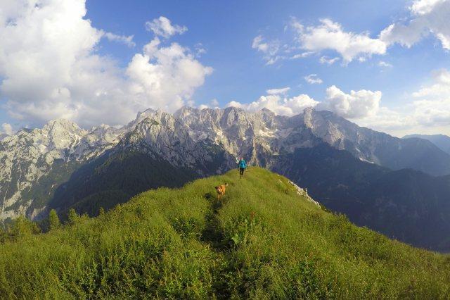 Arriving at the top of Goli Vrh, the Kamnik-Savinja Alps, Slovenia