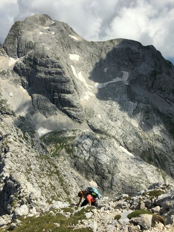 Climbing in the mountains, Bovški Gamsovec, Julian Alps, Slovenia