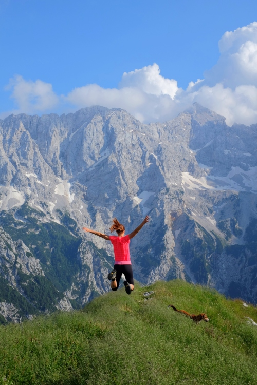 At the top of Goli Vrh, the Kamnik-Savinja Alps, Slovenia. Btw, that's Mt. Grintovec, the highest mountain of the Kamnik-Savinja Alps, on the right.