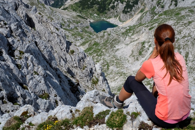 Hiking in Julian Alps, a lakes, an Alpine ibex, a woman hiker