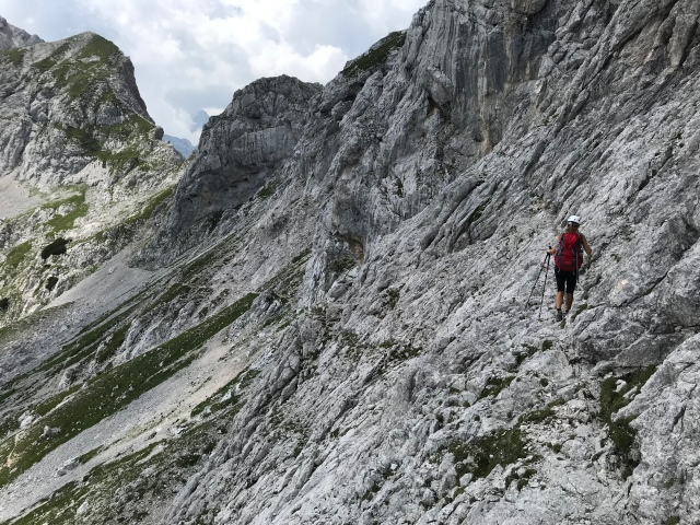 Crossing the steep slopes underneath Mt. Ojstrica and heading towards Mt. Planjava, Kamnik-Savinja Alps, Slovenia