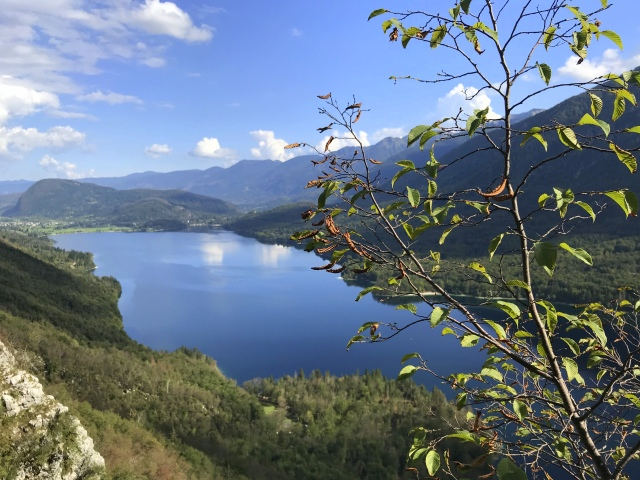 Lake Bohinj as seen from the via ferrata called Ožarjeni Kamen