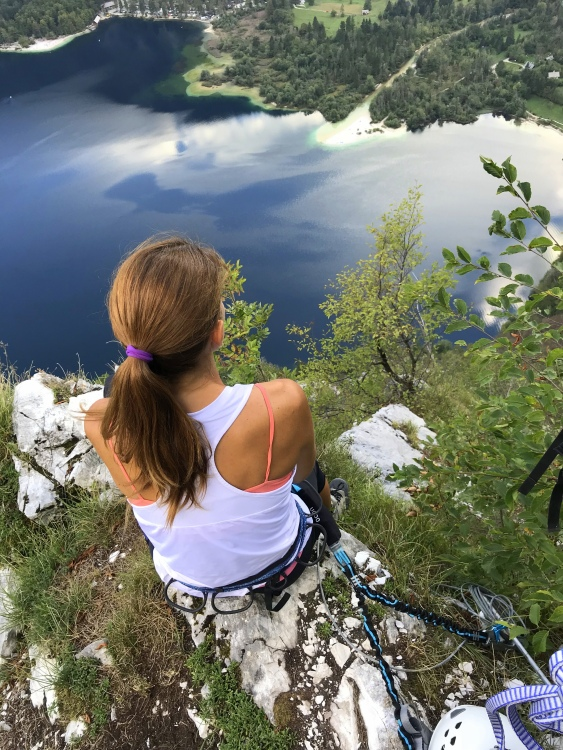 Enjoying heavenly views over Lake Bohinj, via ferrata Ožarjeni Kamen