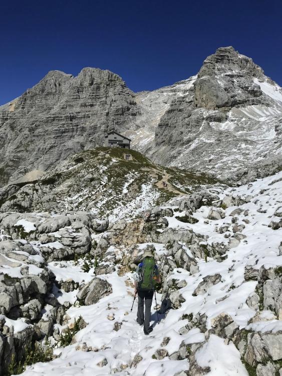 Hiking to the Pogačnik Hut in the Julian Alps, Triglav National Park, Slovenia