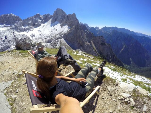 Enjoying easy time in the mountains, at the Pogačnik Hut, Julian Alps, Slovenia
