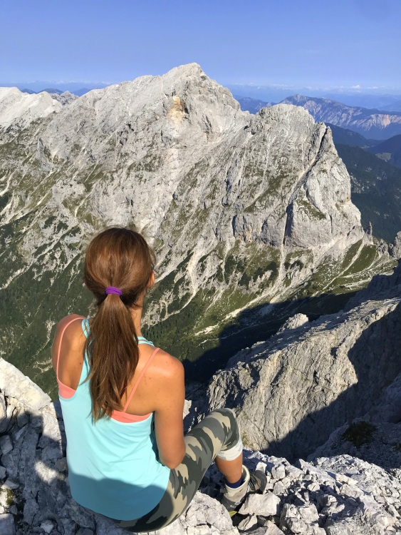 At the top of Mt. Planja overlooking Mt. Prisojnik, Julian Alps