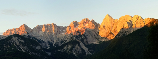 Martuljek Mountain Group for sunrise, Julian Alps