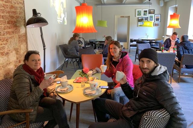 Drinking tea in the Hostel Kozmus, Brestanica, Slovenia