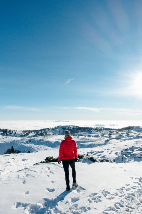 Hiking on Velika Planina in the snow, Visit Ljubljana, Slovenia