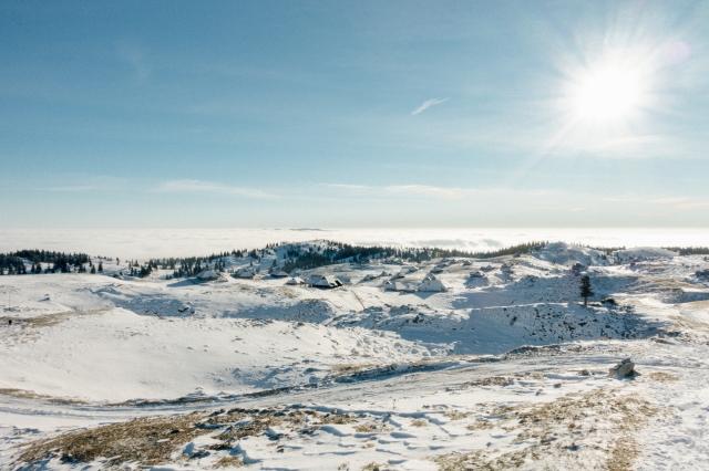 The old shepherds' settlement on Velika Planina in the winter, Visit Ljubljana, Slovenia