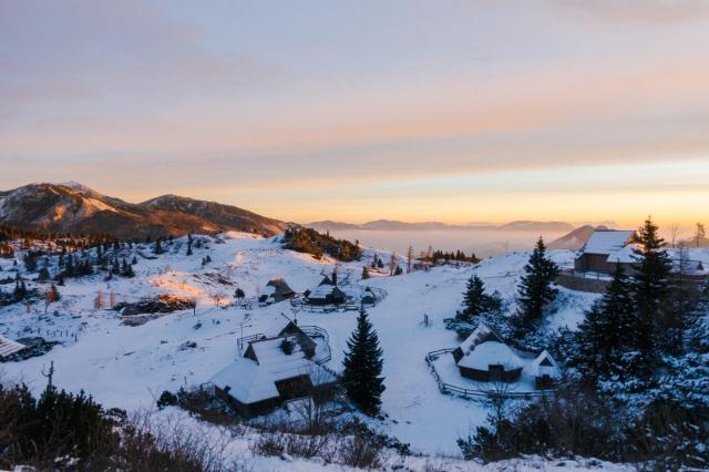 Velika Planina for sunrise in the winter, snow, Visit Ljubljana, Slovenia