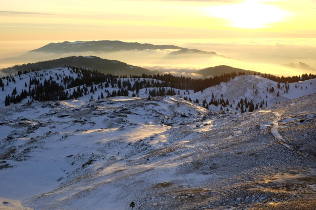 Velika Planina old shephderds' settlement for sunrise, Visit Ljubljana, Slovenia