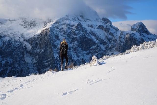 Hiking in Triglav National Park, Julian Alps, Mrežce with a view of Triglav, Slovenia